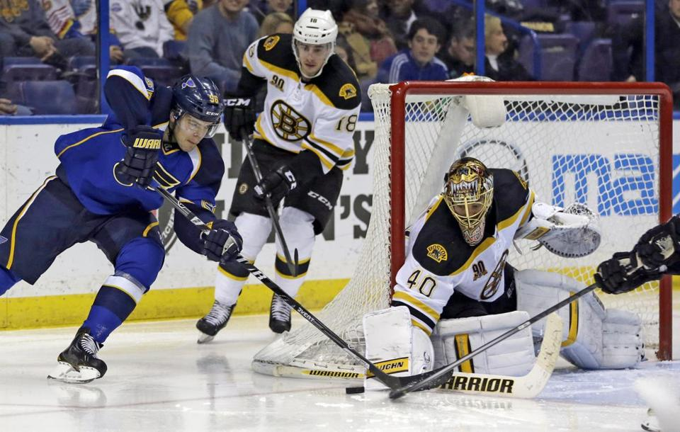 Magnus Paajarvi can't get a wraparound by Tuukka Rask, but the Blues topped the Bruins in OT, 3-2.